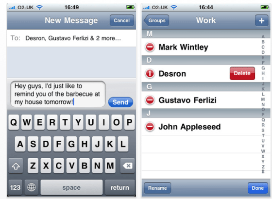 Screenshot GroupSMS App für das iPhone