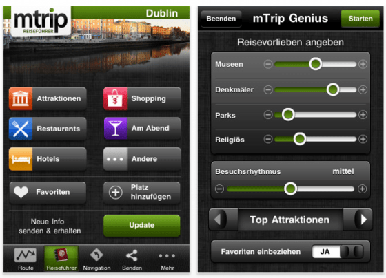 Screenshot mTrip Dublin