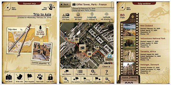 Screenshot iPhone-app Trip Journal