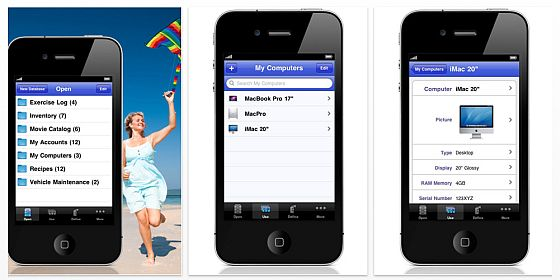 iDatabase für iPhone und iPod Touch Screenshots