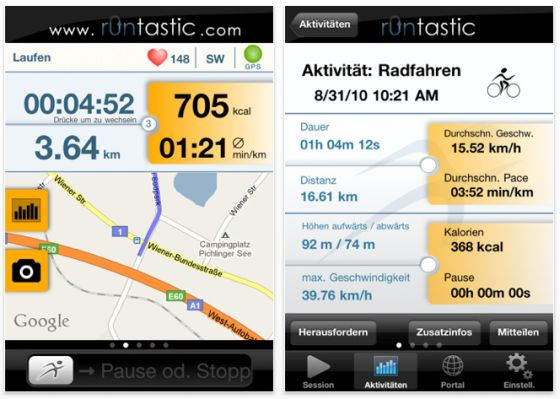 Runtastic Pro für iPhone Screenshot