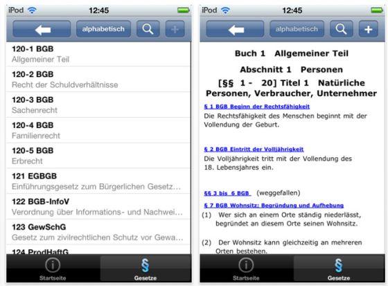 Deutsche Gesetze iPhone App Screenshot