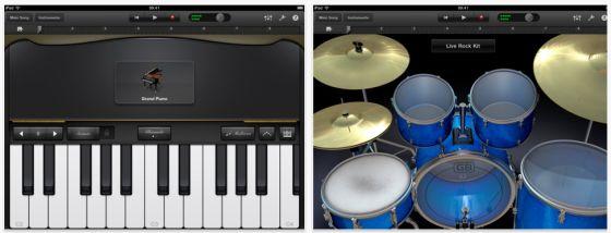Musik-App Garageband für das iPad von Apple - Screenshot von Klavier und Drums