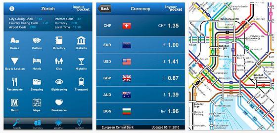 Städteführer Zürich für das iPhone von Meta4 labs aus der Reihe In Your Pockets Screenshot