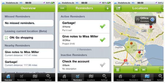 Georeme - ortsbasierter Erinnerungsdienst als App Screenshot