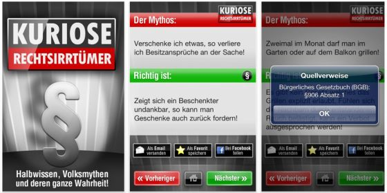Links ist das Starfenster, in der Mitte und rechts Beispiele wie die App aussieht