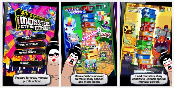 Monster ate my Condo Screenshots der Universal-App für iphone und iPad