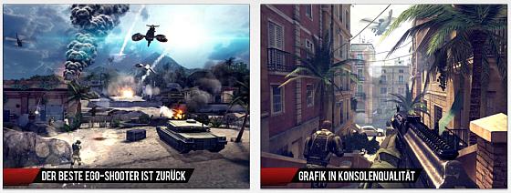 Modern Combat 4: Zero Hour punktet mit Spieltiefe und hervorragender Grafik.