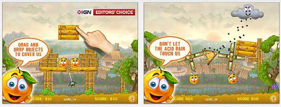 Cover Orange ist ein Physikspiel, indem es darum geht, die Orangen vor dem sauren Regen zu schützen. Das Spiel gefällt durch niedliche Animationen und Sounds