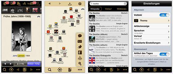 """Auf den Screenshots wird anhand des Beispiels Beatles deutlich, wie die App funktioniert. Ganz links ist der Hauptartikel, daneben das """"Netz"""" von Einträgen und die Auflistung. Ganz rechts ist das Menue für die Einstellungen - hier kann man auch den Artikel des Tages abonnieren."""