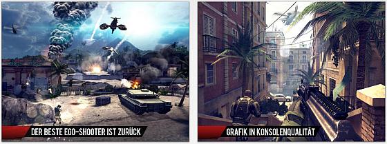 Hervorragende Grfaik, sehr abwechslungsreiche Missionen und eine intensive Spielerfahrung bietet Modern Combat 4: Zero Hour.