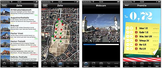 Oktoberfest.de App für iPhone Screenshots
