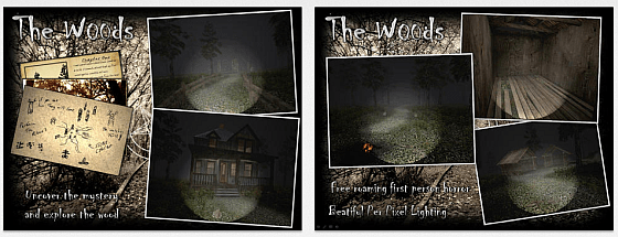 Nur mit einer Taschenlampe bewaffnet gehst Du in The Woods in einen dunklen Wald voller Geister, die Dich in Stücke reißen, wenn sie Dich finden.