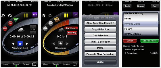 Mit HT Professional Recorder kann man besonders gut Meetings und Vorträge mitscheiden. Die App bietet zahlreiche Bearbeitungsmöglichkeiten für die Aufnahmen.