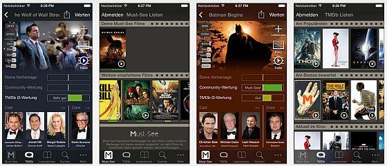 Die App Must See - Entdecke Deine Lieblingsfilme stellt Dir neue Filme vor, die Du ziemlich sicher mögen wirst. Möglich wird das durch einen Algorithmus, der aus dem Abstimmungsverhalten der Gesamtnutzer der App Vorhersagen trifft.