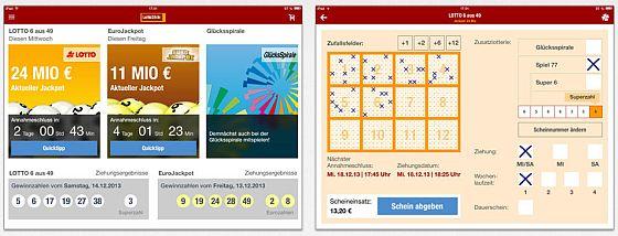 Für das iPad und Android-Tablets bringt die App Lotto24.de ein eigenes Design mit, welches den größeren Platz optimal nutzt.