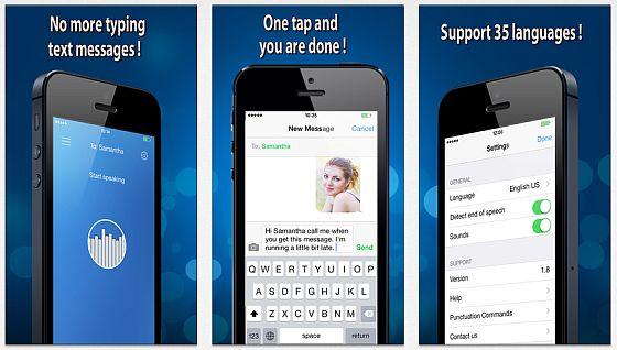 Voice SMS erlaubt Dir, Textnachrichten einfach ins Mikrophon zu sprechen. Deine Stimme wird erkannt und das Gesprochene wird als sendefertiger Text ausgegeben.