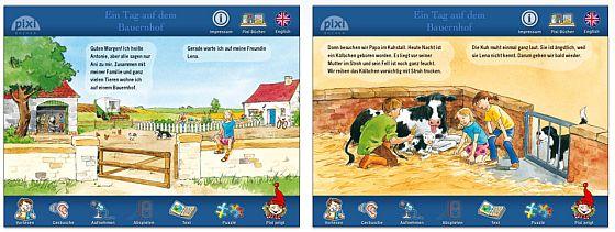 """Kinderleicht zu bedienen und ohne Werbung: Das Pixi-Buch """"Ein Tag auf dem Bauernhof"""" ist bestens für Kinder bis zu 5 Jahren geeignet."""