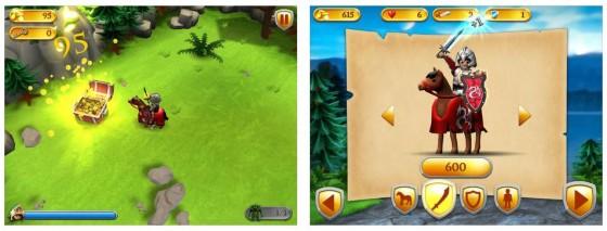 In den Wäldern des Königs findet man Schatztruhen mit Gold oder Schlüsseln für die Tore. Rechts sieht man den Ritter und die Aufrüstungsmöglichkeiten.