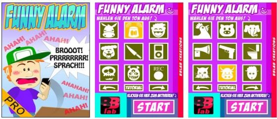 Mit Funny Alarm Pro kannst Du zu neugierigen Zeitgenossen einen ordentlichen Schrecken einjagen.