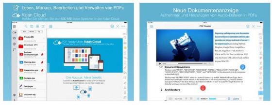 Mit der neuesten Version wurden auch iOS 8 Funktionen eingeführt: Zugriff auf iCloud mit iCloud Drive. Dokumente mit dem Dokumenten-Picker mit anderen Apps teilen und eine Bilderkennung.
