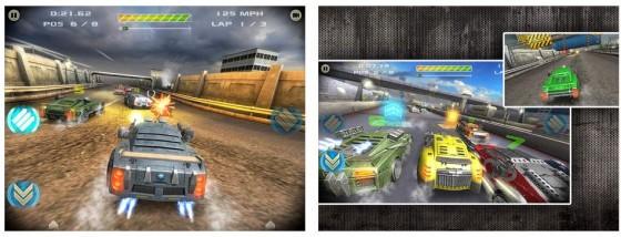Gepanzerte Rennwagen in futuristischem Umfeld kämpfen mit Waffengewalt um den Sieg. Battle Riders - Car Combat Racing erfreut als Premium-Spiel ohne In-App-Käufe.