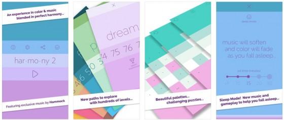 Harmonie 2 und drei sind recht ähnlich, allein in Harmonie 2 gibt es mehr Level und einen Sleeptimer. Das Spielprinzip ist identisch: Farbpaletten wiederherstellen. Dafür hat man Zeit und kann bei der hervorragenden Ambient-Musik wundervoll entspannen.