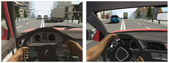 Nun mal aus der Fahrerperspektive und mit etwas nervöserer Lenkung. Das Spielprinzip ist das Gleiche: Du fährst so schnell es geht durch den Verkehr und darfst dabei keinen Unfall verursachen.