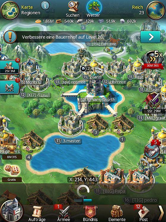 Nach dem Serverzusammenschluss in Gamelofts March of Empires drängeln sich die Spielerburgen auf viel zu wenig Raum. (Screenshot March of Empires)