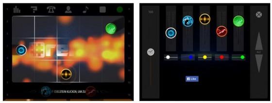 Links siehst Du das Soundboard mit den 15 Feldern und den 5 Stimmen, rechts der Equalizer, mit dem Du Stimmen betonen oder zurücknehmen kannst.