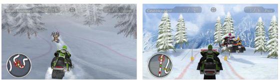 Rasante Rennen im Schnee bietet Snow Moto Racing.