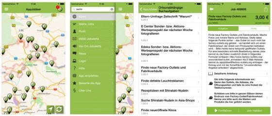 Zum Verwechseln ähnlich: AppJobber aus Deutschland macht es ähnlich wie Streetspotr.