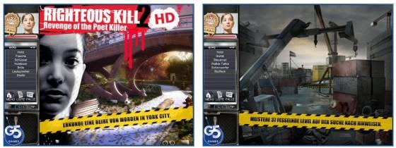 Die Kriminalspiel-App Righteous Kill 2: Revenge of the Poet Killer kommt in moderner Gestaltung, die zum Teil an Boulevard-Zeitungen und News-Channels erinnert.