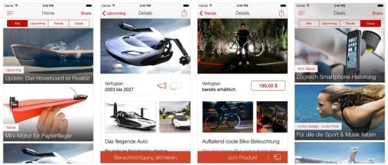 Wer Gadgets liebt und über neueste Produkttrtends informiert sein will, findet mit der deutschsprachigen App Upcoming allerlei Neues.