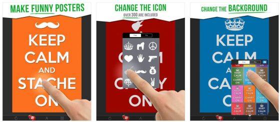 Ganz einfach erstellst Du mit der App Deine individuellen Keep Calm-Poster. Viele Gestaltungsmöglichkeiten lassen sich einfach auswählen und kombinieren.