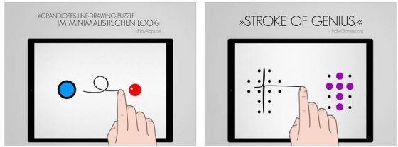 Das Besondere an Blek ist, dass Deine gezeichneten Linien sich bewegen - und so die farbigen Kreise entweder erreichen oder verfehlen.