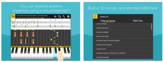 Mit Chordana Play kann man Klavier- und Keyboardspiel recht einfach lernen. Ist zwar nicht vergleichbar mit einem echten Keyboard, aber für die Mobilgeräte gut konzipiert.
