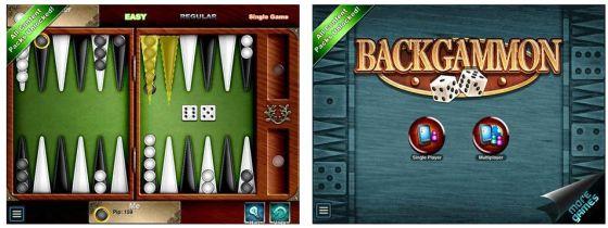 Mit Backgammon HD kann man allein, zu zweit oder auch online spielen. Wer etwas Nachhilfe im Backgammon-Spiel braucht, findet unter Help eine Anleitung und Tipps zum Spiel.