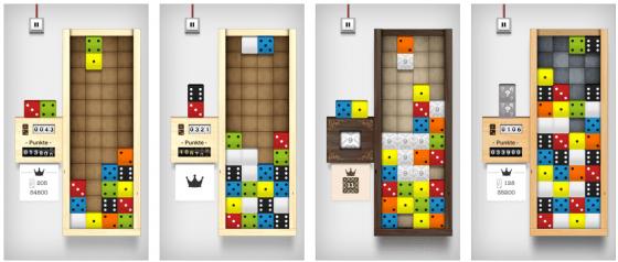 Im Tetris-Stil kommt Domino Drop mit netten Animationen und 12 Songs im Soundtrack.