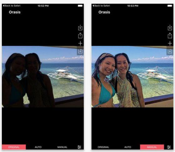 Bilder retten geht mit OrasisHD recht gut. Die App hellt die zu dunklen Bereiche auf.