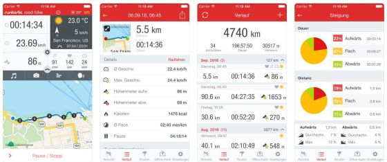 Screenshots runtastic Road Bike GPS PRO