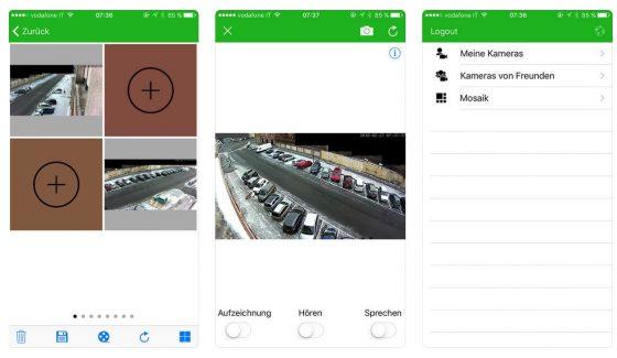 Die App-Gestaltung ist zweckmäßig. Sie bietet - gerade beim Einsatz mehrerer Kameras, mehrere Ansichten und erlaubt mit einfachen Schiebereglern die Nutzung der Kamera zur Aufzeichnung, zum Reinhören und sogar zur Übertragung von Sprache an die Kameralautsprecher.
