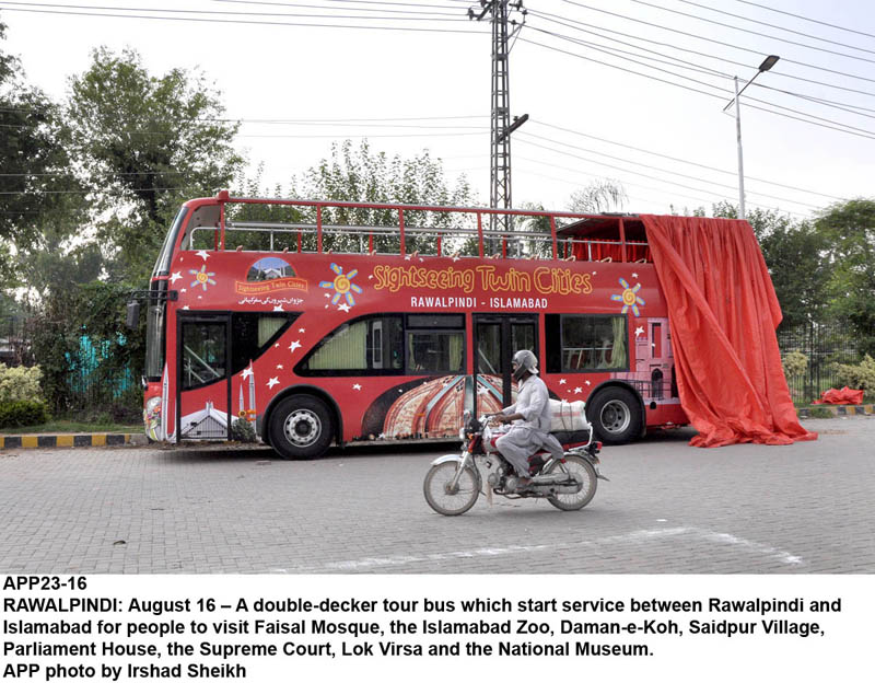 RAWALPINDI: August 16 – A double-decker tour bus which start service between Rawalpindi and Islamabad for people to visit Faisal Mosque, the Islamabad Zoo, Daman-e-Koh, Saidpur Village, Parliament House, the Supreme Court, Lok Virsa and the National Museum. APP photo by Irshad Sheikh