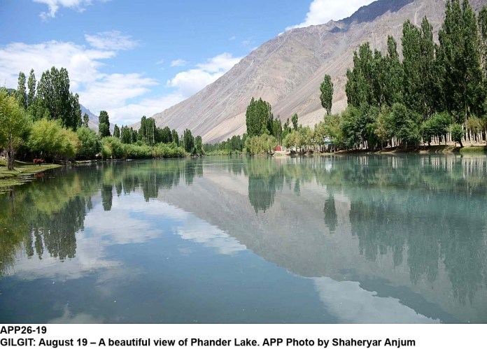 GILGIT: August 19 – A beautiful view of Phander Lake. APP Photo by Shaheryar Anjum