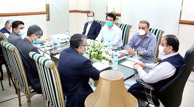 LAHORE: August 24 – Chief Minister Punjab Sardar Usman Buzdar presiding over a meeting to review prices of flour, sugar and stock. APP