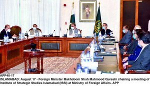 ISLAMABAD: August 17 - Foreign Minister Makhdoom Shah Mahmood Qureshi chairing a meeting of Institute of Strategic Studies Islamabad (ISSI) at Ministry of Foreign Affairs. APP
