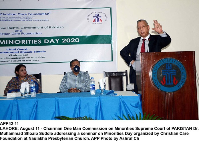 LAHORE: August 11 - Chairman One Man Commission on Minorities Supreme Court of PAKISTAN Dr. Muhammad Shoaib Suddle addressing a seminar on Minorities Day organized by Christian Care Foundation at Naulakha Presbyterian Church. APP Photo by Ashraf Ch