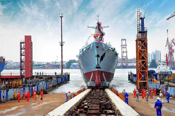 SHANGHAI: August 23 – The first Type-054A/P Frigate for Pakistan Navy is being launched at Hudong Zhonghua Shipyard Shanghi,China. APP
