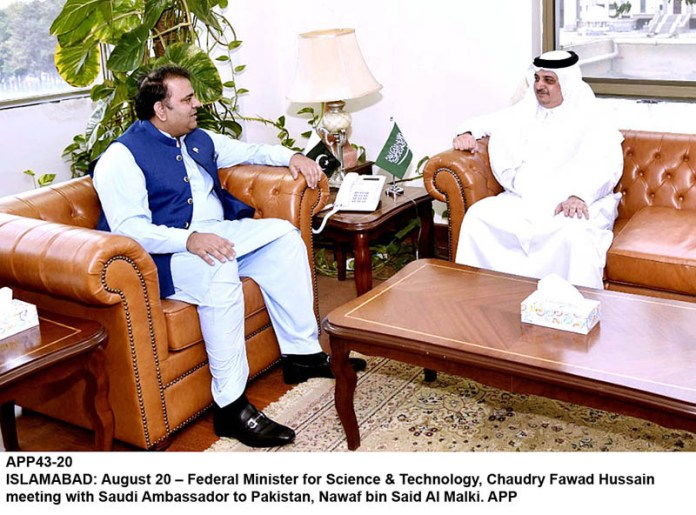 ISLAMABAD: August 20 – Federal Minister for Science & Technology, Chaudry Fawad Hussain meeting with Saudi Ambassador to Pakistan, Nawaf bin Said Al Malki. APP