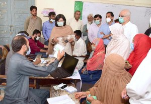ISLAMABAD: August 27 - SAPM Dr. Sania Nishtar visits Ehsaas Emergency Cash campsite at Tarlai to field test the mobile wallet opening for Ehsaas beneficiaries. APP